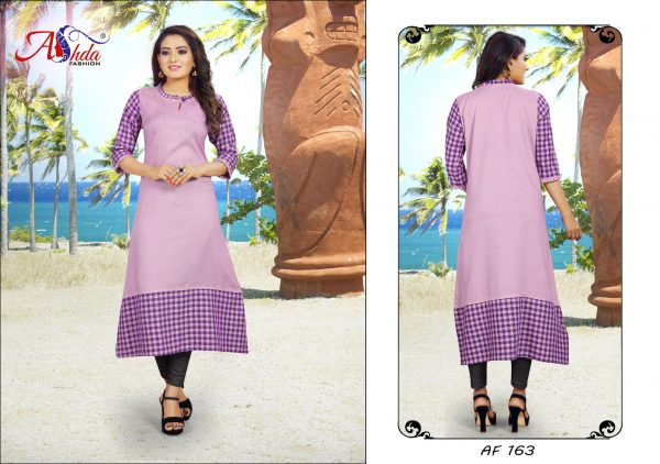Ashda Fashion Purple Cotton A-Line Bollywood Style Designer Kurti