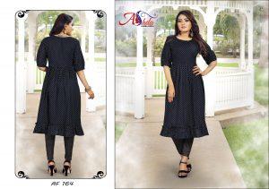 Ashda Fashion Black Polka Dots Pleated Round Neck Casual Trendy Bollywood Style Kurti.