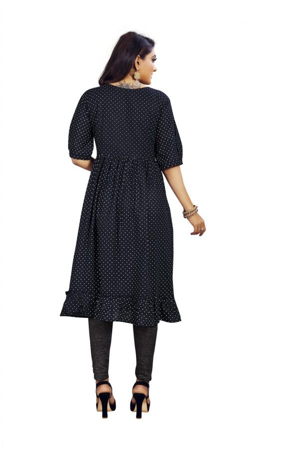 Ashda Fashion Black Polka Dots Pleated Round Neck Casual Trendy Bollywood Style Kurti.
