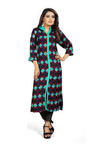 Ashda Fashion Designer Multicolor Printed Bollywood Style Indian Ethnic Wear Casual Long Kurti.