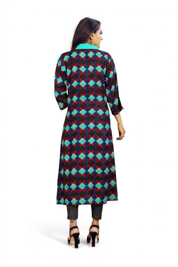 Ashda Fashion Designer Multicolor Printed Bollywood Style Indian Ethnic Wear Casual Long Kurti.