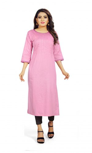 Ashda Fashion Designer Pretty Pink Handwork Indian Ethnic Bollywood Style Casual Party Wear Kurti.