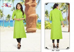Ashda Fashion Green Designer Bollywood Style Indian Ethnic Casual Handwork Long Kurti.