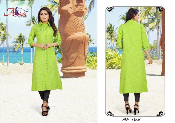 Ashda Fashion Green Designer Bollywood Style Indian Ethnic Casual Handwork Long Kurti.