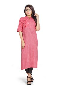 Ashda Fashion Designer Bollywood Style Indian Ethnic Pink Handwork Long Kurti For Casual And Party Wear.
