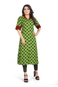 Ashda Fashion Designer Collar Neck Casual Indian Look Bollywood Style Ethnic Long Green Colour Kurti.