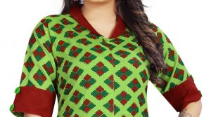 Ashda Fashion Designer Collar Neck Casual Indian Look Bollywood Style Ethnic Long Green Colour Kurti.