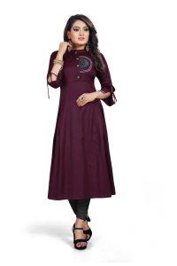 Ashda Fashion Dark Purple Designer Handwork Ethnic Bollywood Style Indian Look Long Party Wear And Casual Wear Kurti.