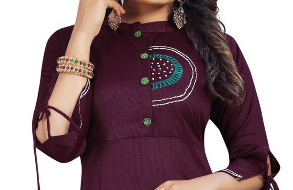 Ashda Fashion Dark Purple Designer Handwork Ethnic Bollywood Style Indian Look Long Party Wear And Casual Wear Kurti.