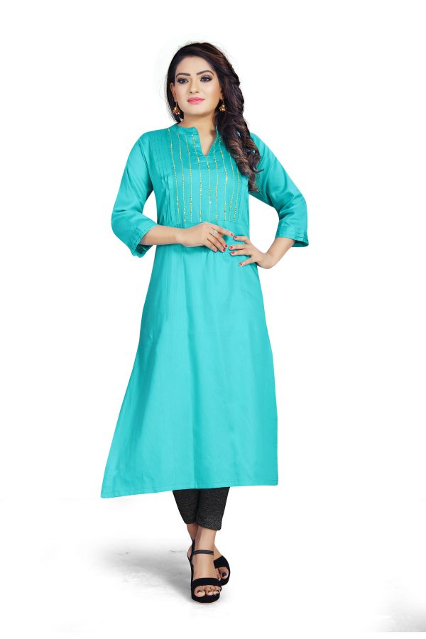 Ashda Fashion Cool Blue Designer Indian Ethnic Handwork Bollywood Style Long Party And Casual Wear Kurti.
