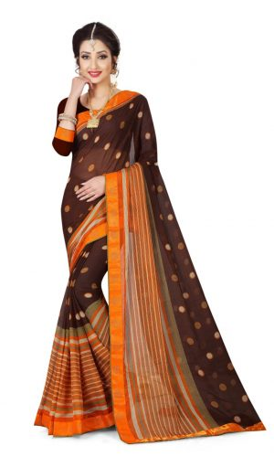 Ashda Fashion Chiffone Saree With Lace Border
