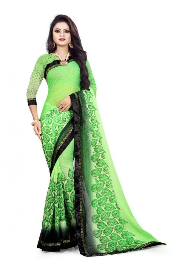 Ashda Fashion Chiffone Green Leaf Printed Saree With Indian Look Bollywood Style