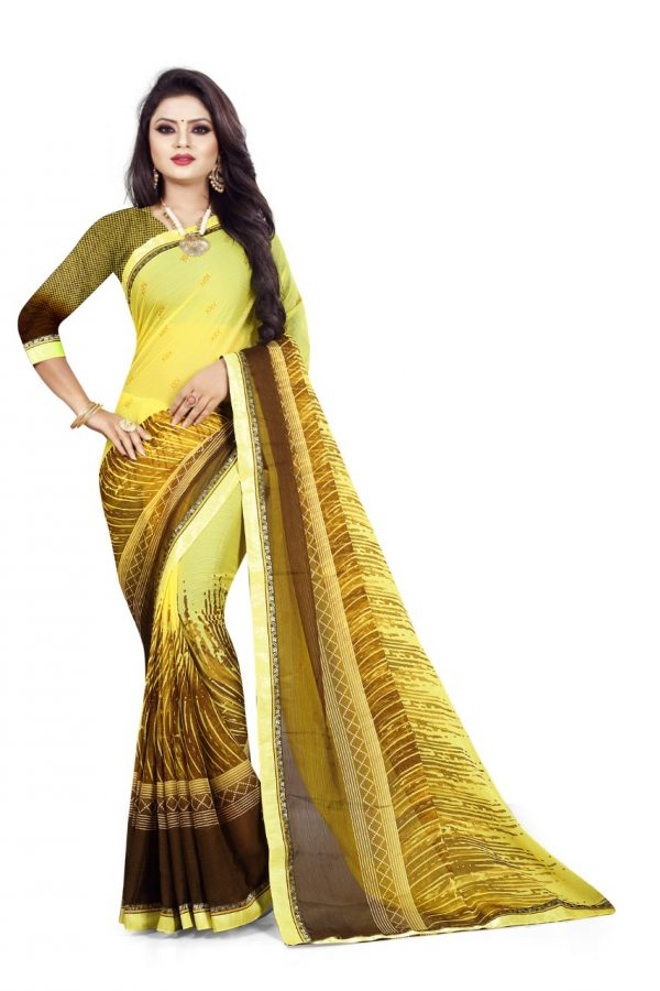Ashda Fashion Chiffon Bright Yellow Printed Indian Ethnic Look Bollywood Style Saree