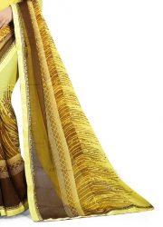 Ashda Fashion Chiffon Bright Yellow Printed Indian Ethnic Look Bollywood Style Saree