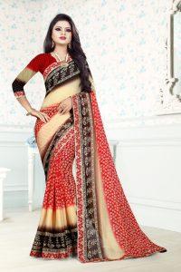 Ashda Fashion Chiffon Ethnic Bollywood Style Indian Wear Printed Saree With Lace Border