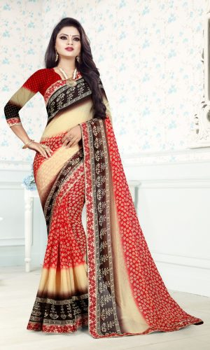 Ashda Fashion Chiffon Ethnic Bollywood Style Indian Wear Printed Saree With Lace Border