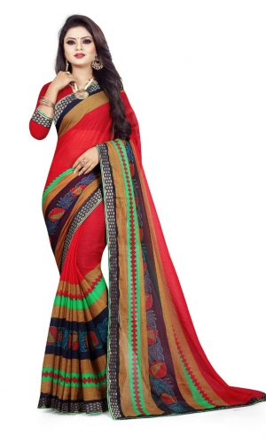 Ashda Fashion Chiffon Printed Indian Ethnic Look Bollywood Style Saree