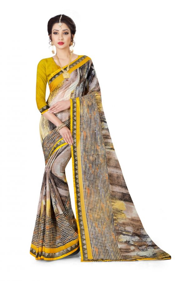 Ashda Fashion Chiffon Printed Indian Ethnic Look Bollywood Style Yellow Classic Saree