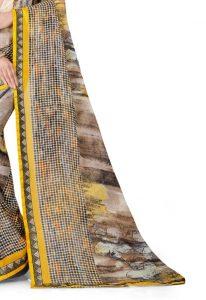 Ashda Fashion Chiffon Printed Indian Ethnic Look Bollywood Style Yellow Classic Saree
